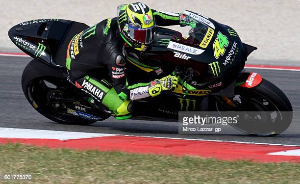 Pol Espargaro of Monster Yamaha Tech 3 team in action during the MotoGP of San Marino Qualifying at Misano World Circuit on September 10 2016 in...