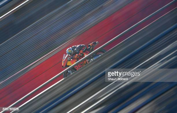 Pol Espargaro of Red Bull KTM Factory during Warm Up at Silverstone Circuit on August 27 2017 in Northampton England