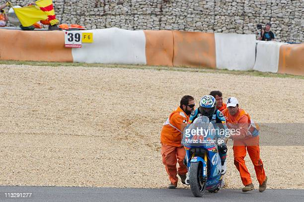 Pol Espargaro of Spain and HP Tuenti Speed Up crashed out during the free practice of MotoGP of Portugal in Estoril Circuit on April 30 2011 in...