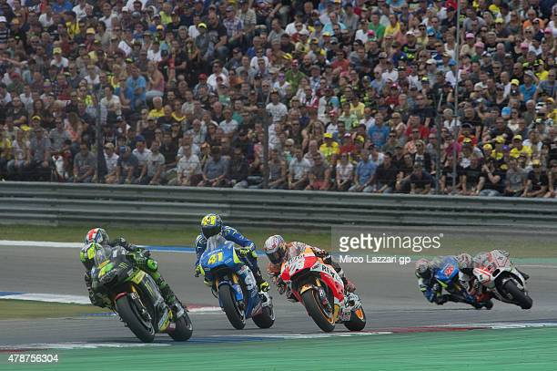 Pol Espargaro of Spain and Monster Yamaha Tech 3 leads the field during the MotoGP race during the MotoGP Netherlands Race at on June 27 2015 in...