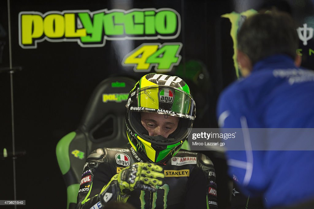 Pol Espargaro of Spain and Monster Yamaha Tech 3 looks on in box during the qualifying session for the MotoGp of France - Qualifying at on May 16, 2015 in Le Mans, France.