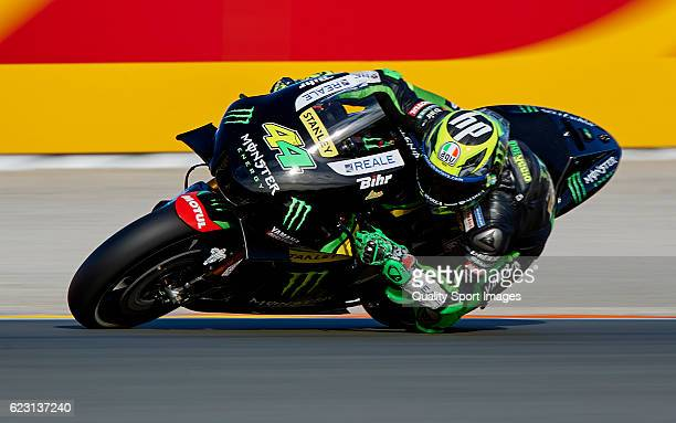 Pol Espargaro of Spain and Monster Yamaha Tech 3 team rounds the bend during the MotoGP of Valencia Race at Comunitat Valenciana Ricardo Tormo...
