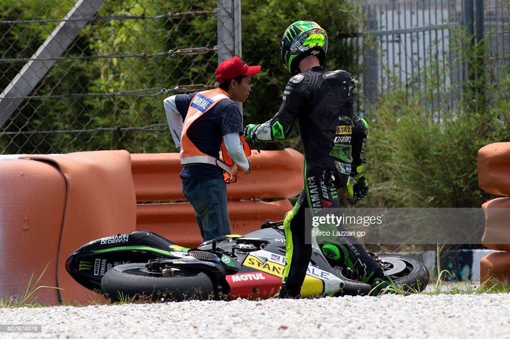 Pol Espargaro of Spain and Monster Yamaha Tech 3 walks out of track after crashed out during the MotoGP Tests In Sepang at Sepang Circuit on February 2, 2016 in Kuala Lumpur, Malaysia.