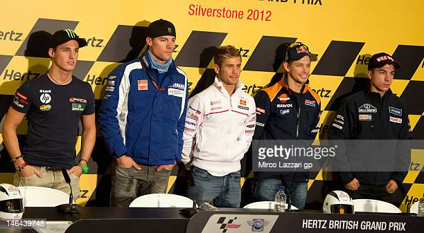 Pol Espargaro of Spain and Pons 40 HP Tuenti Ben Spies of USA and Yamaha Factory Racing Alvaro Bautista of Spain and San Carlo Honda Gresini Casey...