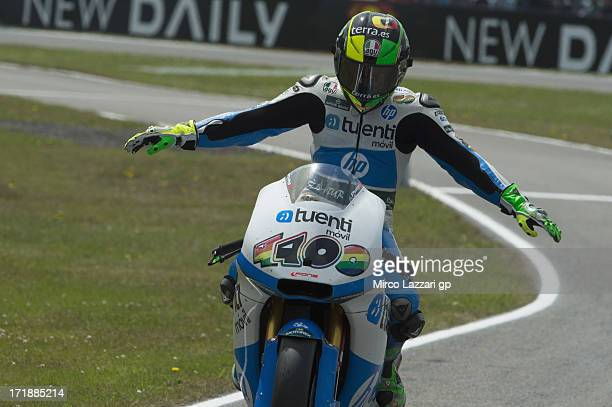 Pol Espargaro of Spain and Pons 40 HP Tuenti celebrates the victory at the end of the Moto2 race during the MotoGp Of Holland Race at TT Circuit...