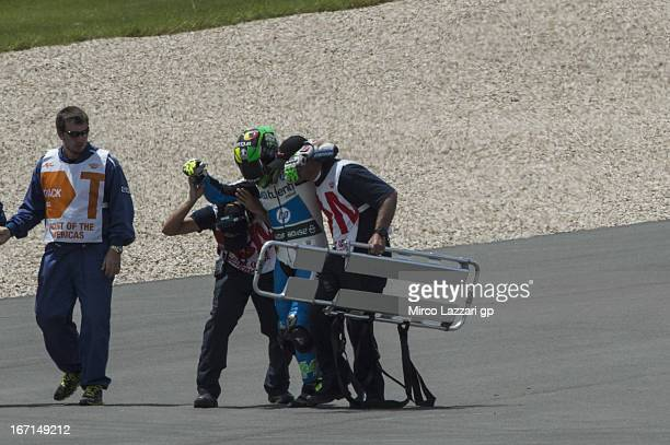 Pol Espargaro of Spain and Pons 40 HP Tuenti crashed out during the Moto2 race during the MotoGp Red Bull US Grand Prix of The Americas Race at...