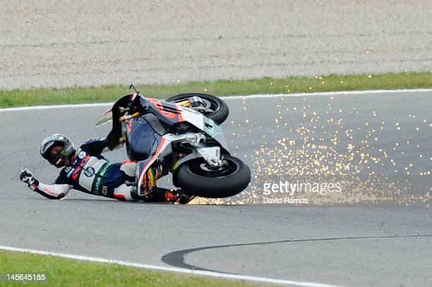 Pol Espargaro of Spain and Pons 40 HP Tuenti crashes out during the Moto2 race at Circuit de Catalunya on June 3 2012 in Montmelo Spain Iannone was...