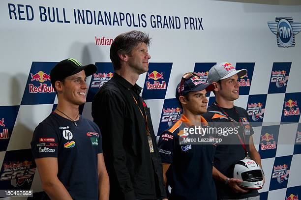 Pol Espargaro of Spain and Pons 40 HP Tuenti Dani Pedrosa of Spain and Repsol Honda Team and Sandro Cortese of Germany and Red Bull KTM Ajo pose the...
