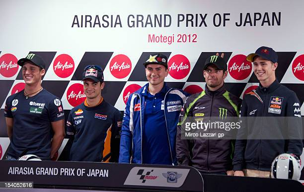 Pol Espargaro of Spain and Pons 40 HP Tuenti Dani Pedrosa of Spain and Repsol Honda Team Jorge Lorenzo of Spain and Yamaha Factory Team Cal Crutchlow...