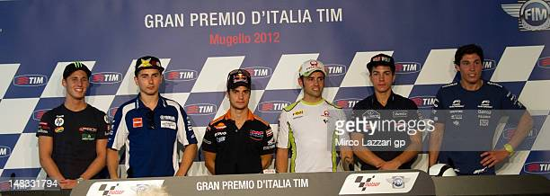 Pol Espargaro of Spain and Pons 40 HP Tuenti Jorge Lorenzo of Spain and Yamaha Factory Team Dani Pedrosa of Spain and Repsol Honda Team Hector...