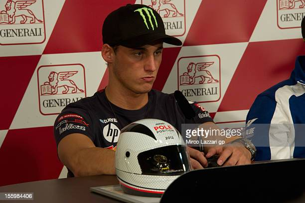 Pol Espargaro of Spain and Pons 40 HP Tuenti looks on during the press conference at the end of the qualifying practice of the MotoGP of Valencia at...