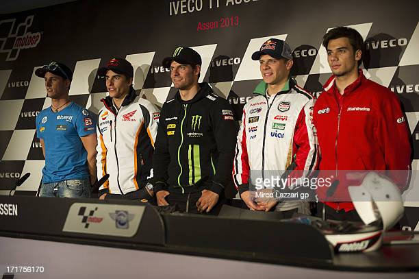 Pol Espargaro of Spain and Pons 40 HP Tuenti Marc Marquez of Spain and Repsol Honda Team Cal Crutchlow of Great Britain and Monster Yamaha Tech 3...