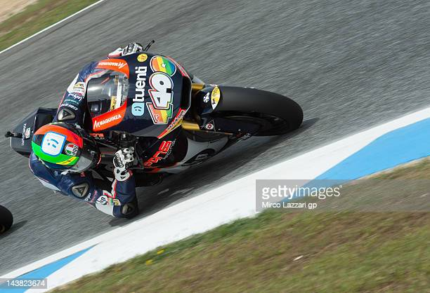 Pol Espargaro of Spain and Pons 40 HP Tuenti rounds the bend during the free practice of the MotoGp of Portugal at on May 4 2012 in Estoril Portugal