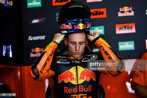 Pol Espargaro of Spain and Red Bull KTM Factory Racing adjusts his helmet during free practice for the MotoGP of Catalunya at Circuit de Catalunya on...
