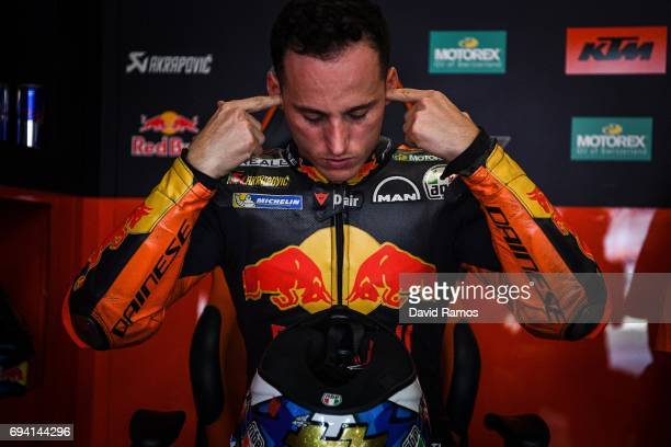 Pol Espargaro of Spain and Red Bull KTM Factory Racing at his box during free practice for the MotoGP of Catalunya at Circuit de Catalunya on June 9...