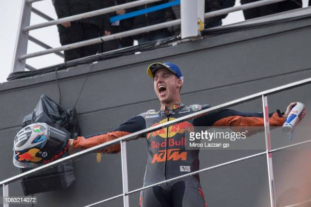 Pol Espargaro of Spain and Red Bull KTM Factory Racing celebrates the third place on the podium at the end of the MotoGP race during the MotoGP Of...