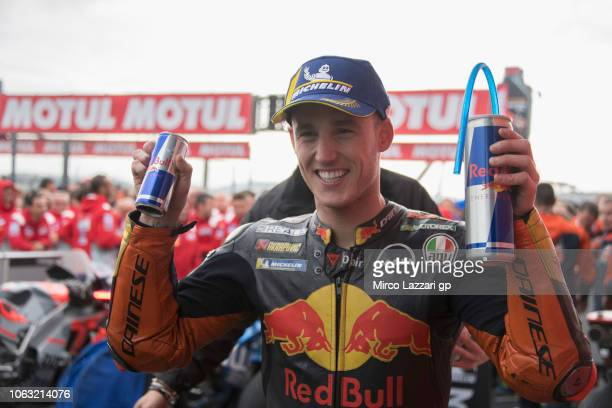 Pol Espargaro of Spain and Red Bull KTM Factory Racing celebrates the third place under the podium at the end of the MotoGP race during the MotoGP Of...