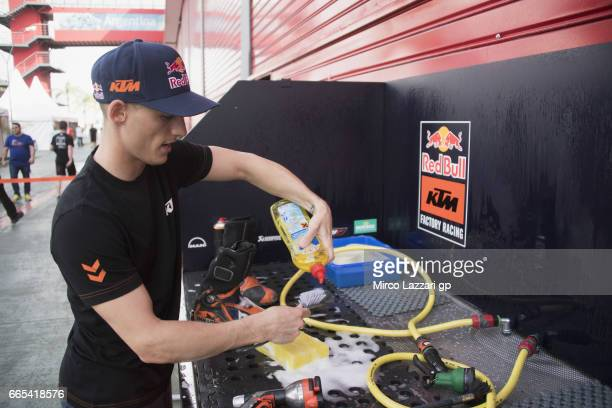 Pol Espargaro of Spain and Red Bull KTM Factory Racing cleans the boots in paddock during the MotoGp of Argentina Previews on April 6 2017 in Rio...