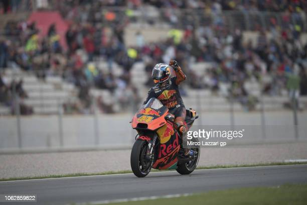 Pol Espargaro of Spain and Red Bull KTM Factory Racing greets the fans during the qualifying practice during the MotoGP Of Valencia Qualifying at...