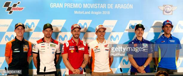 Pol Espargaro of Spain and Red Bull KTM Factory Racing KTM Cal Crutchlow of England and LCR Honda Castrol Andrea Dovizioso of Italy and Ducati Team...