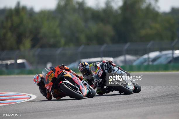 Pol Espargaro of Spain and Red Bull KTM Factory Racing leads Johann Zarco of France and Reale Avintia Racingduring the MotoGP race during the MotoGP...