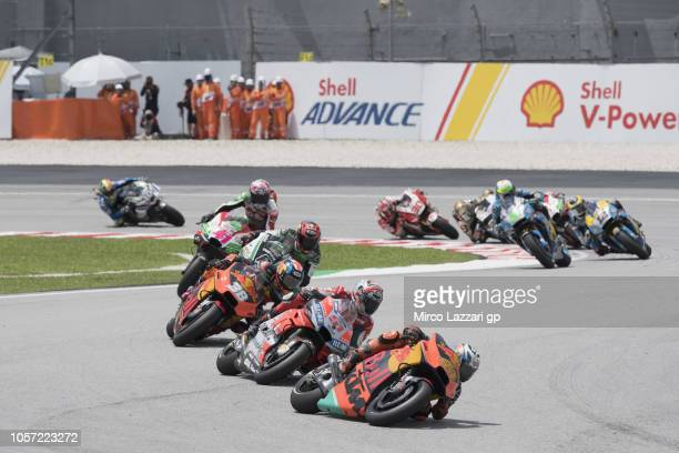 Pol Espargaro of Spain and Red Bull KTM Factory Racing leads the field during the MotoGP race during the MotoGP Of Malaysia Race at Sepang Circuit on...