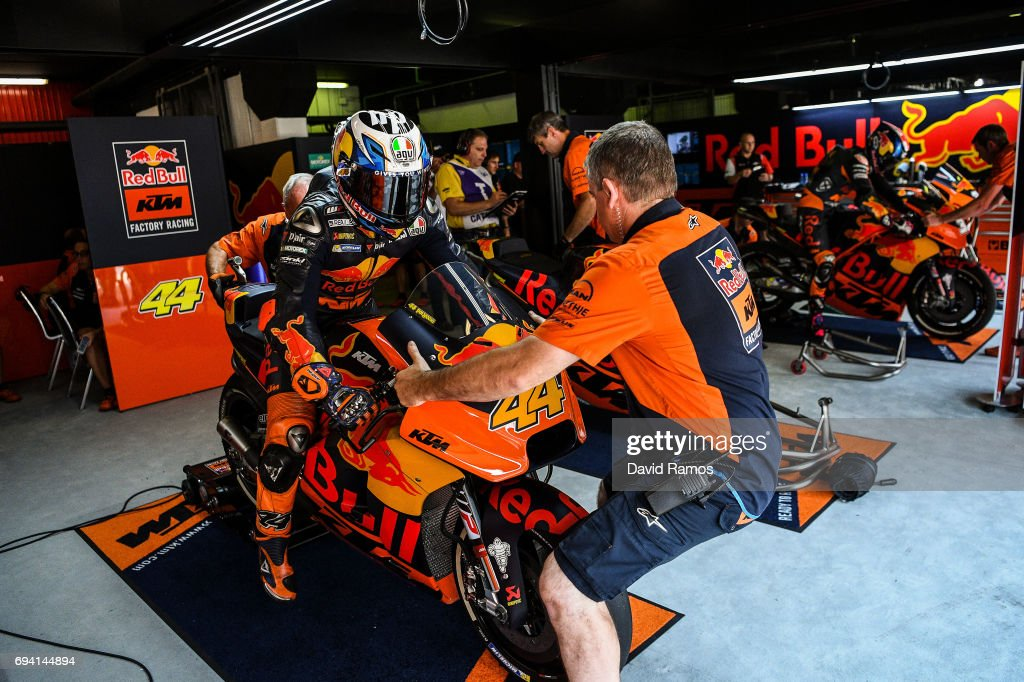 Pol Espargaro of Spain and Red Bull KTM Factory Racing leaves his box during free practice for the MotoGP of Catalunya at Circuit de Catalunya on June 9, 2017 in Montmelo, Spain.