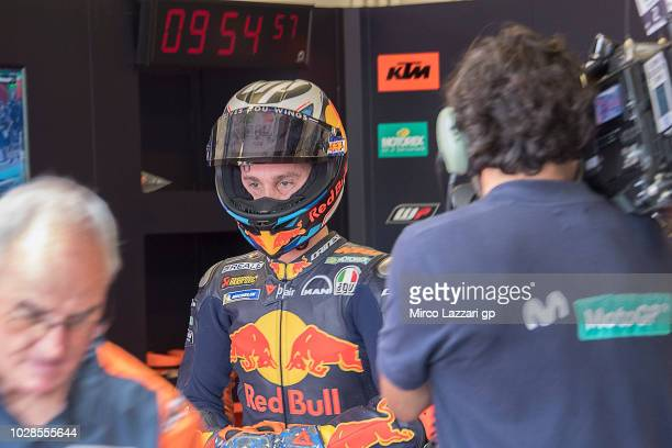 Pol Espargaro of Spain and Red Bull KTM Factory Racing prepares to start from box during the MotoGP of San Marino Free Practice at Misano World...