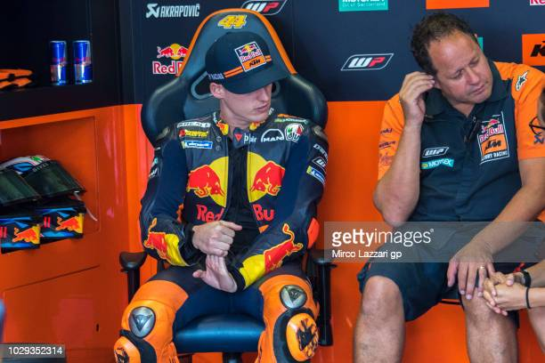 Pol Espargaro of Spain and Red Bull KTM Factory Racing prepares to start in box during the qualifying practice during the MotoGP of San Marino...
