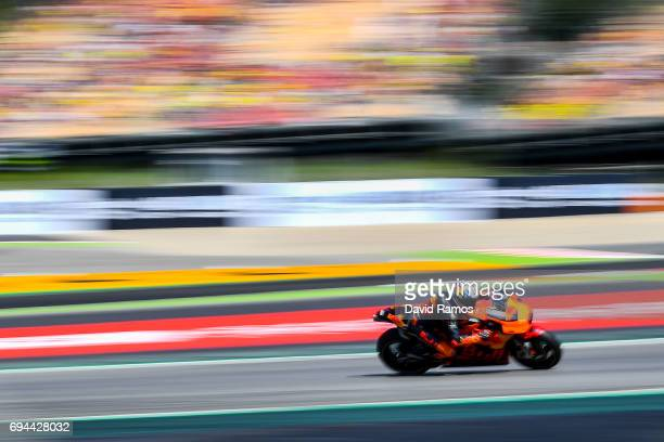 Pol Espargaro of Spain and Red Bull KTM Factory Racing rides during a free practice ahead of qualifying at Circuit de Catalunya on June 10, 2017 in...