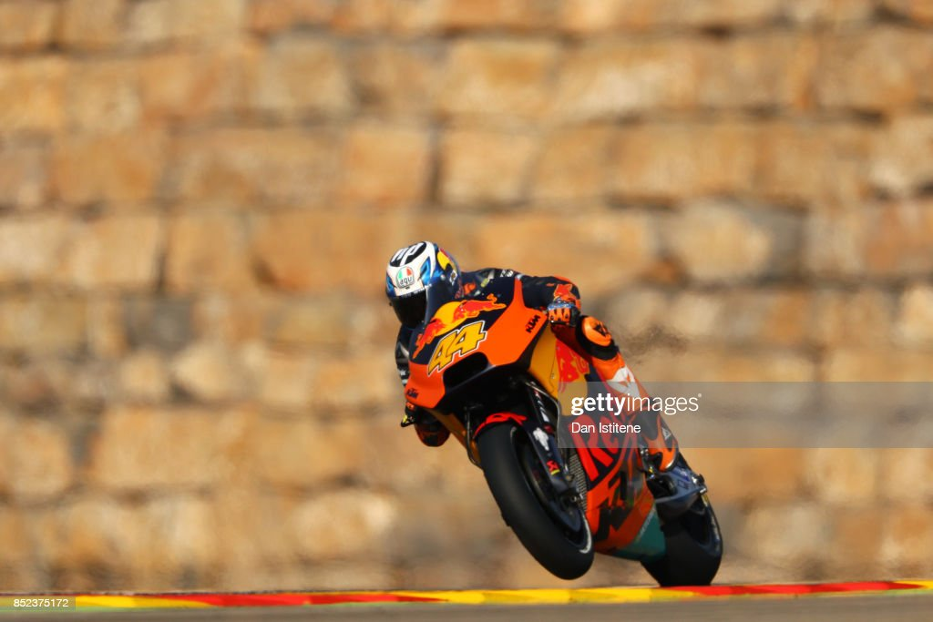 Pol Espargaro of Spain and Red Bull KTM Factory Racing rides during practice for the MotoGP of Aragon at Motorland Aragon Circuit on September 23, 2017 in Alcaniz, Spain.