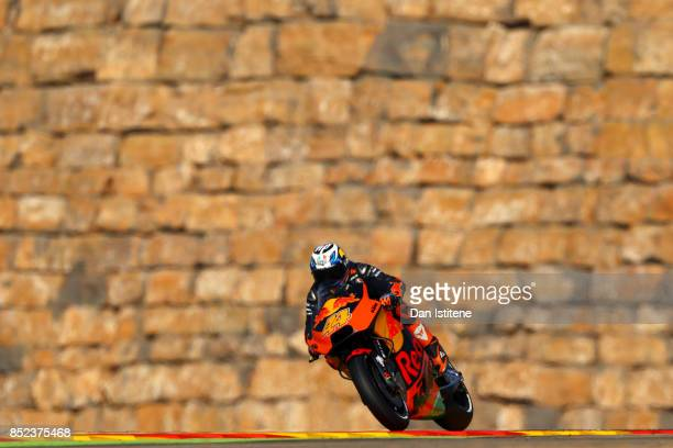Pol Espargaro of Spain and Red Bull KTM Factory Racing rides during practice for the MotoGP of Aragon at Motorland Aragon Circuit on September 23...