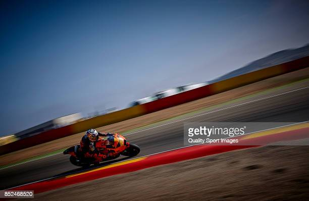Pol Espargaro of Spain and Red Bull Ktm Factory Racing rides during qualifying for the MotoGP of Aragon at Motorland Aragon Circuit on September 23...