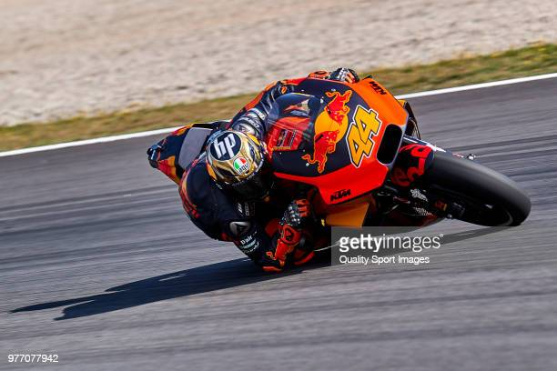 Pol Espargaro of Spain and Red Bull KTM Factory Racing rides during MotoGP free practice at Circuit de Catalunya on June 17 2018 in Montmelo Spain