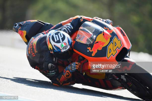 Pol Espargaro of Spain and Red Bull KTM Factory Racing rounds the bend during the MotoGp of Czech Republic Free Practice at Brno Circuit on August 3...