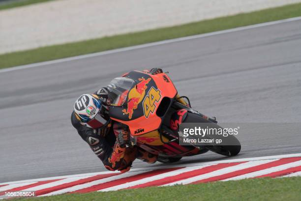 Pol Espargaro of Spain and Red Bull KTM Factory Racing rounds the bend during the MotoGP Of Malaysia Free Practice at Sepang Circuit on November 2...