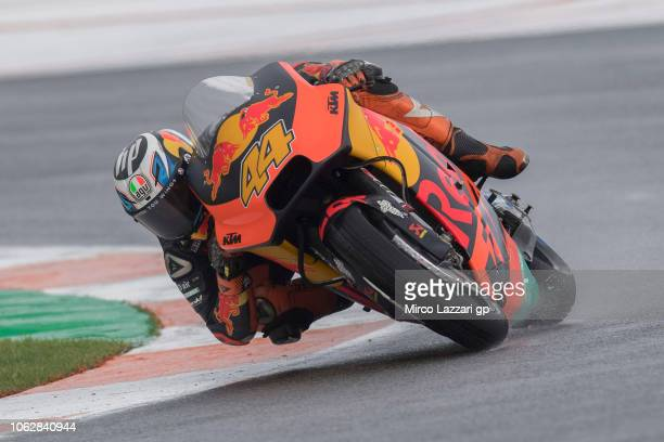Pol Espargaro of Spain and Red Bull KTM Factory Racing rounds the bend during the qualifying practice during the MotoGP Of Valencia Qualifying at...
