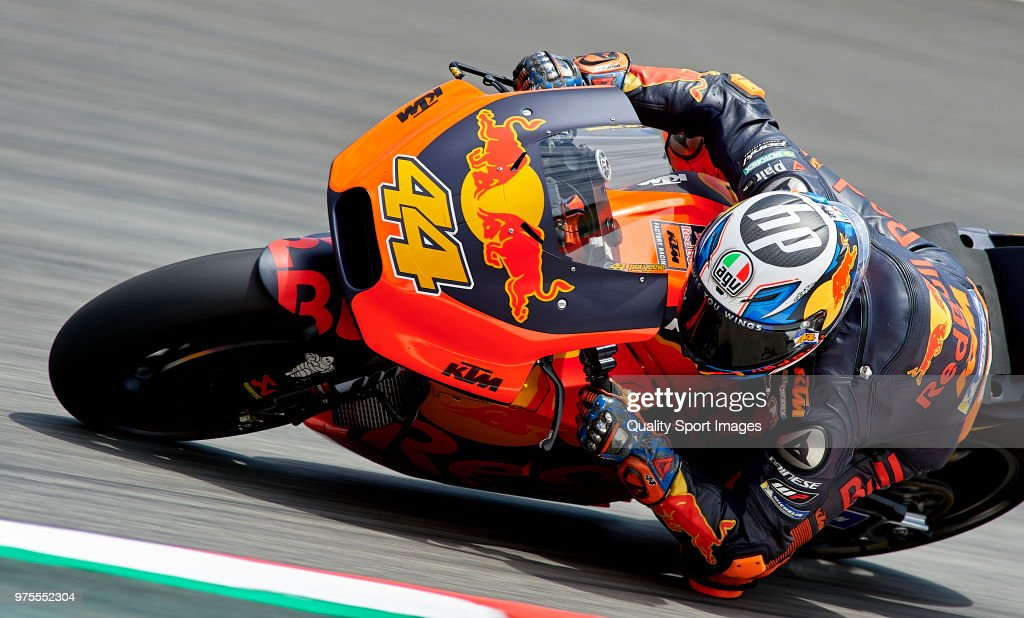 Pol Espargaro of Spain and Red Bull KTM Factory Racing rounds the bend during free practice for the MotoGP of Catalunya at Circuit de Catalunya on June 15, 2018 in Montmelo, Spain.