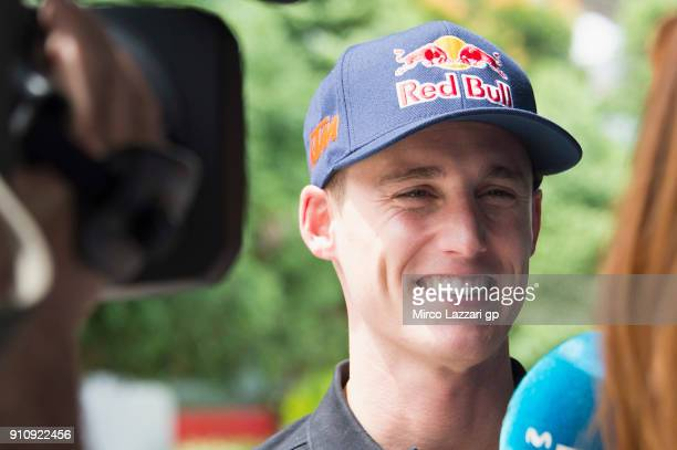 Pol Espargaro of Spain and Red Bull KTM Factory Racing speaks with journalists in paddock at Sepang Circuit on January 27 2018 in Kuala Lumpur...