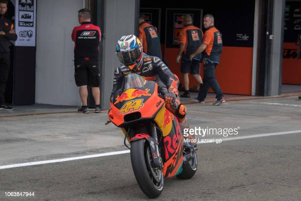 Pol Espargaro of Spain and Red Bull KTM Factory Racing starts from box during the MotoGP Tests In Valencia at Ricardo Tormo Circuit on November 20...
