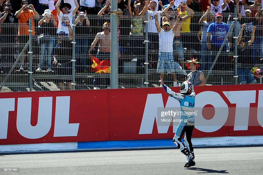Pol Espargaro of Spain and Tuenti Racing celebrates the victory in front of his fans at the end of the 125 cc race at Circuito de Jerez on May 2, 2010 in Jerez de la Frontera, Spain.