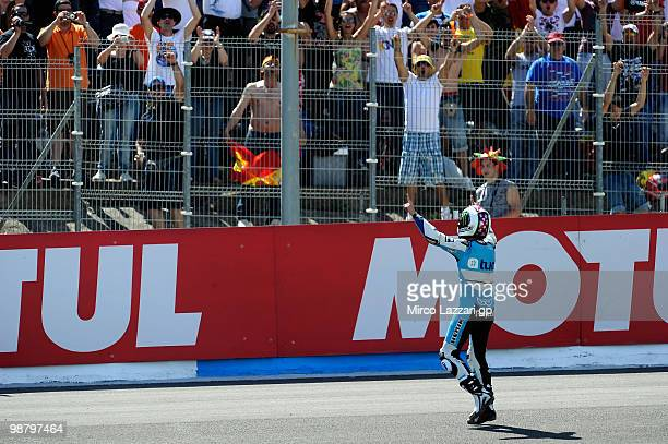 Pol Espargaro of Spain and Tuenti Racing celebrates the victory in front of his fans at the end of the 125 cc race at Circuito de Jerez on May 2 2010...