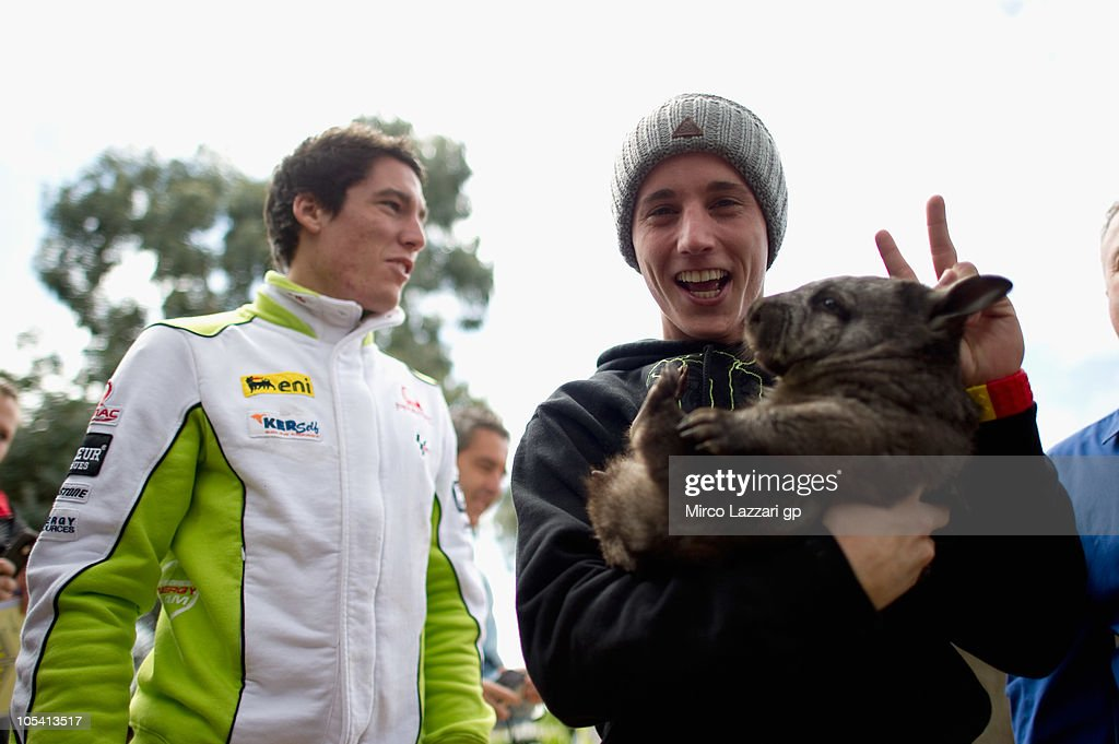 Pol Espargaro of Spain and Tuenti Racing greets with a wombat during the pre-event 'MotoGP riders visit Maru Wildlife Park' of Australian Grand Prix at Phillip Island on October 14, 2010 in Phillip Island, Victoria, Australia.
