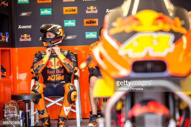 Pol Espargaro of Spain prepares in the pits during the MotoGP Red Bull US Grand Prix of The Americas Free Practice 3 at Circuit of The Americas on...