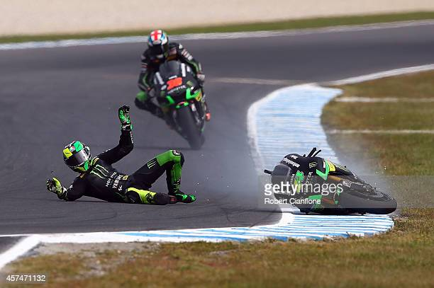 Pol Espargaro of Spain riding the Monster Yamaha Tech3 Yamaha crahses out during the 2014 MotoGP of Australia at Phillip Island Grand Prix Circuit on...