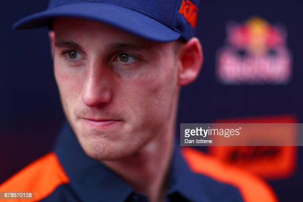 Pol Espargo of Spain and Red Bull KTM Factory Racing speaks with members of the media during previews to the MotoGP of Spain at Circuito de Jerez on...