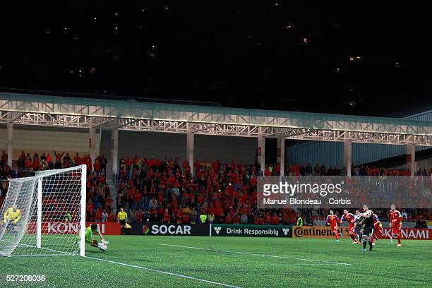 Pol Ferran goalkeeper of Andorra stops a penalty kick by Eden Hazard of Belgium during the UEFA European Championship 2016 qualifying Group B...