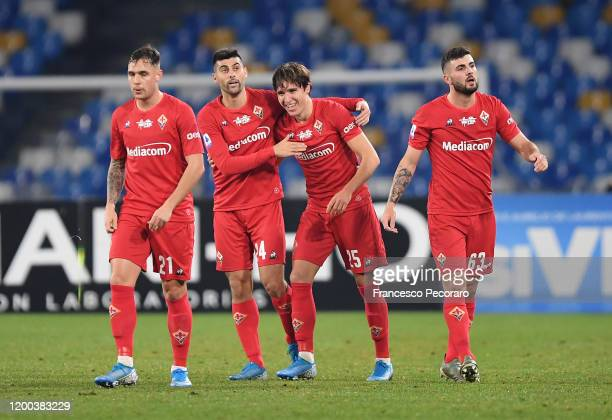 Pol Lirola Marco Benassi Federico Chiesa and Patrick Cutrone celebrate the 01 goal scored by Federico Chiesa during the Serie A match between SSC...