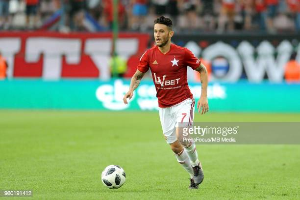 Pol Llonch of Wisla Krakow in action during Lotto Ekstraklasa match between Wisla Krakow and Lech Poznan on May 13 2018 in Krakow Poland