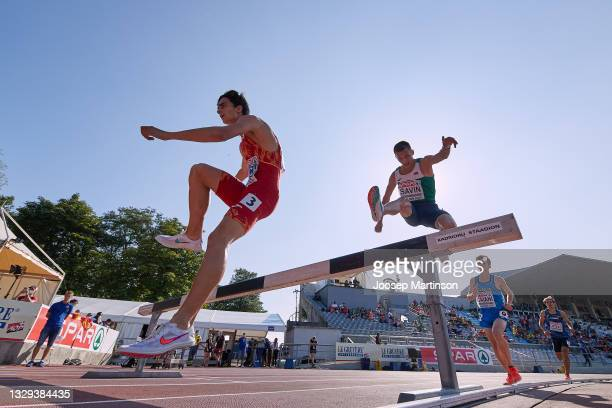 Pol Oriach of Spain competes in the Men's 3000m Steeplechase Final during European Athletics U20 Championships Day 4 at Kadriorg Stadium on July 18,...